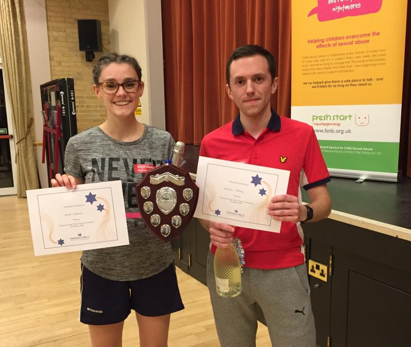 Anna Godbold and Daniel Farrow of LB Group - Winners of the DC Table Tennis Tournament 2018